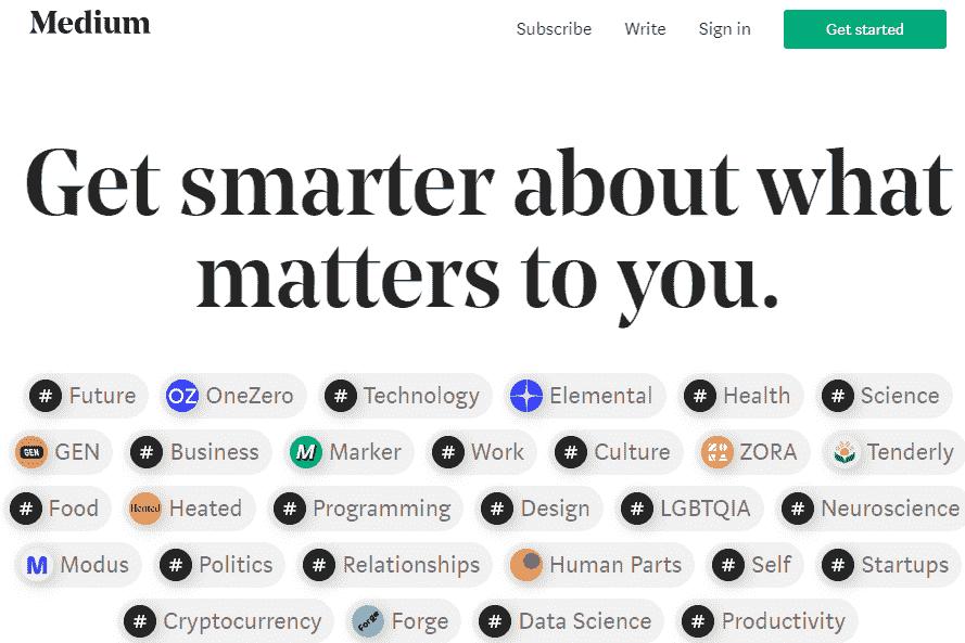 Medium: Content-focused Blogging Site