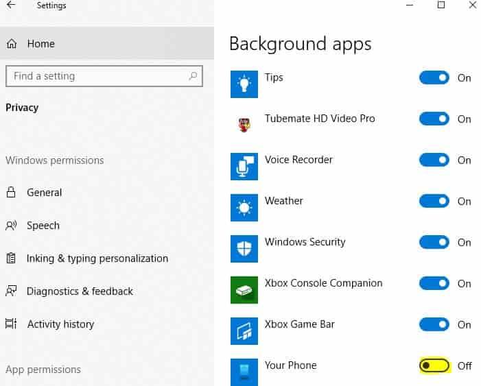 Disable YourPhone.exe Windows 10
